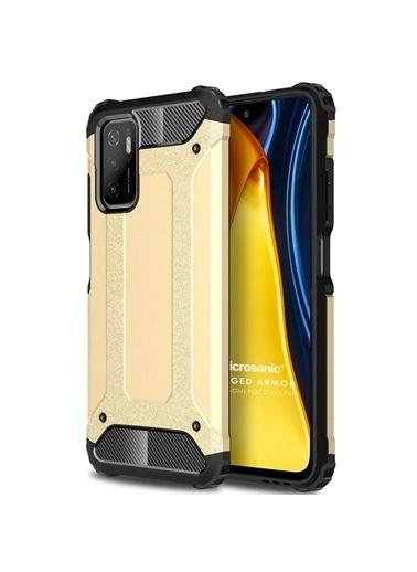 Microsonic Xiaomi Poco M3 Pro Kılıf Rugged Armor Gold Altın